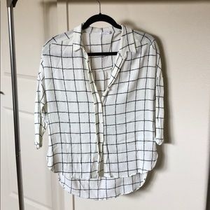 Black and White Window Pane Button Up